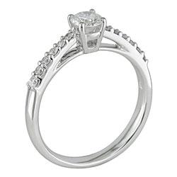 14k White Gold 1/2ct TDW Round Diamond Engagement Ring (F-G, I1)