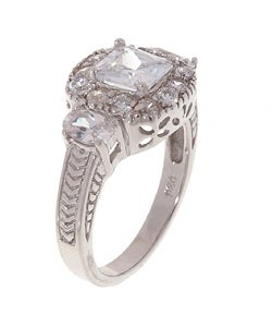 Sterling Silver CZ Engagement Ring - Thumbnail 1