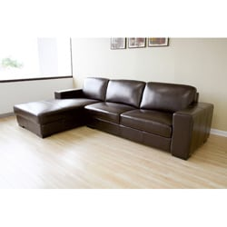 Dana Brown Bi-cast Leather Sectional Sofa - Thumbnail 1