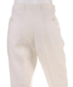 Prague Men's Flat Front Ivory Linen Pants - Thumbnail 1