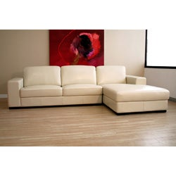 Cream Bi-cast Leather Chaise Sectional Sofa