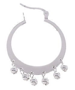 Sterling Silver Hoop and Ball Earrings - Thumbnail 1