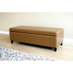 Peanut Butter Leather Storage Ottoman