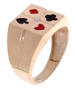 10k Gold Diamond Card Deck Men's Ring