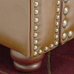 Thumbnail 2, Nutmeg Leather Chair with Lumbar Pillow. Changes active main hero.