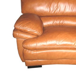 Shop Curved Brown Leather Sectional Sofa Free Shipping