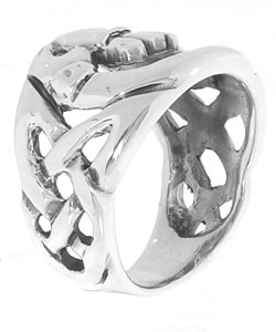 Journee Collection Sterling Silver Large Celtic Claddagh Ring - Thumbnail 1