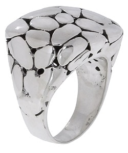 Sterling Silver Chunky Circle Design Fashion Ring - Thumbnail 1