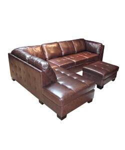 Chocolate Leather Sectional Sofa and Ottoman - Thumbnail 1