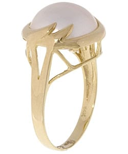 Thumbnail 2, 14k Gold Cultured Mabe Pearl Diamond Wave Ring. Changes active main hero.