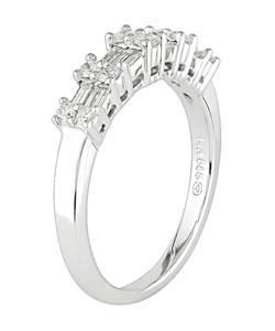 14k White Gold 1/2ct TDW Round and Baguette Diamond Ring (H-I-J, I1-I2) - Thumbnail 1