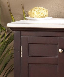 Espresso Finish Marble Top Vanity Sink - Thumbnail 1
