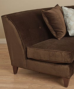 dark brown armless curved loveseat thumbnail 1 - Curved Loveseat