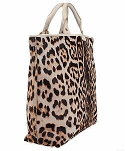 Shop Ysl Leopard Print Calf Hair Tote Bag Free Shipping