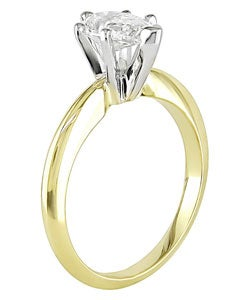 Miadora 14k Gold 1ct TDW Pear Diamond Solitaire Ring (I-J, I1-I2)
