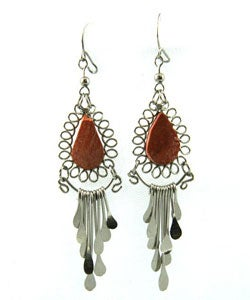 Orange Agate Necklace and Earring Set (Peru) - Thumbnail 1