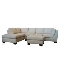 Ivory Tufted Leather Sectional Sofa And Ottoman Free