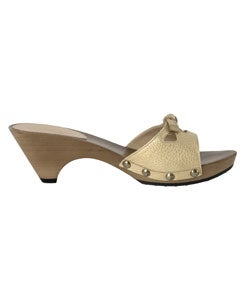 Tod's Gold Leather Slide Sandals - Thumbnail 1