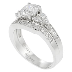 Journee Sterling Silver CZ Solitaire Ring with Matching Band - Thumbnail 1