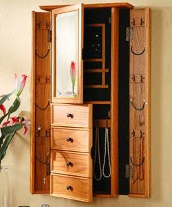 Shop Oak Wall-mount Mirrored Jewelry Armoire - Overstock ...