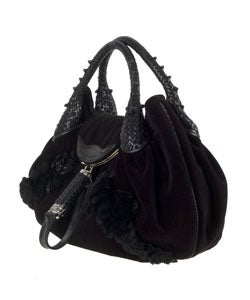 Fendi Black Embelished Velvet Floral Spy Bag - Thumbnail 1