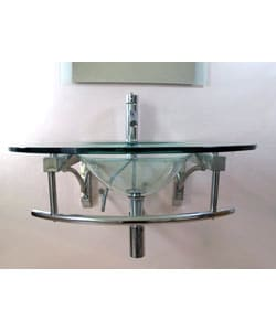 Modern Wall-mounted Glass Vanity and Faucet - Thumbnail 1