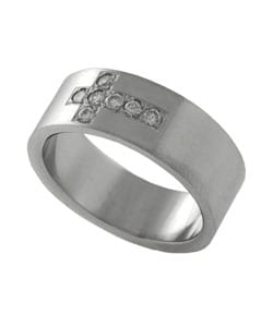 Stainless Steel Brushed Finish CZ Cross Ring