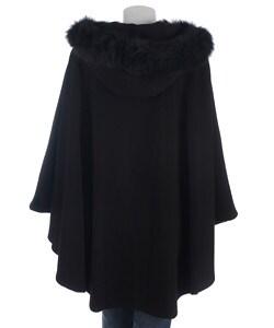 Marvin Richards Cashmere-blend Cape with Fur Trim Hood