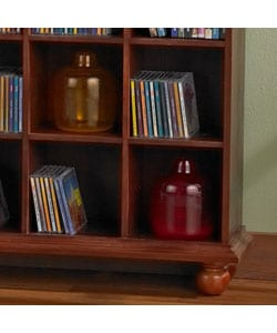 Cherry Finished 4-column Media Storage Shelf - Thumbnail 1
