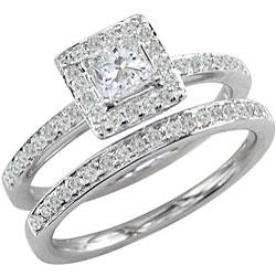 14K White Gold 1ct TDW Princess Diamond Bridal Ring Set (G-H, I1) - Thumbnail 1