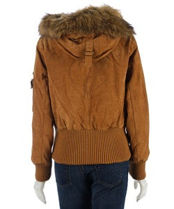 Baby Phat Suede Bomber Jacket With Faux Fur Trim Free