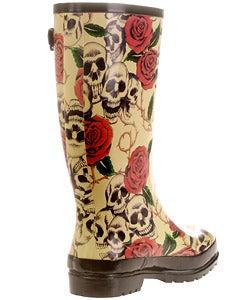On Your Feet Rasp Skull and Rose Print Rain Boots - Thumbnail 1