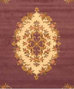 Hand-tufted Wool Purple Aubusson Rug (5' x 8') - Thumbnail 1