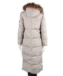 DKNY Women's Long Down Coat with Fur Trim Hood