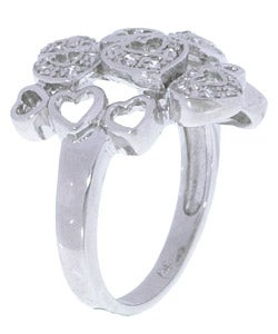 Sterling Silver Multiple Hearts Cubic Zirconia Ring