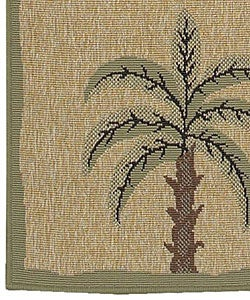 Cafe Series Palm Tree Border Indoor/Outdoor Rug (7'6 Square) - Thumbnail 1