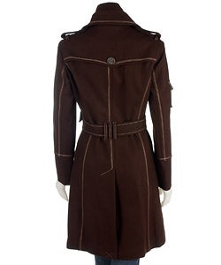 Thumbnail 2, Justsweet Women's Belted Trench Coat with Knit Bib. Changes active main hero.