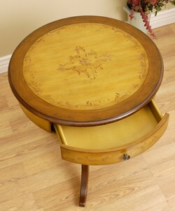 Hand-painted Round Entry Table with Drawer