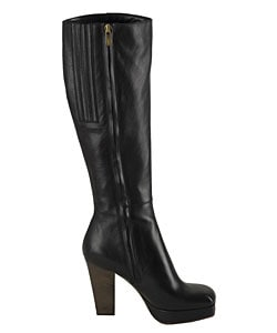 Y.S.L. Black Leather Knee-high Boots - Thumbnail 1