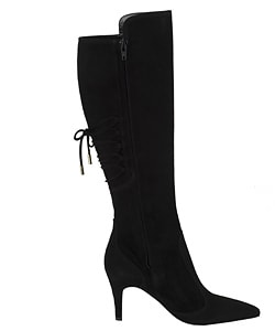 Versace Black Suede Corset Lace-up Boots