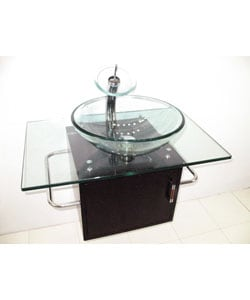 Wall-mount Glass Sink Vanity with Solid Wood Base - Thumbnail 1