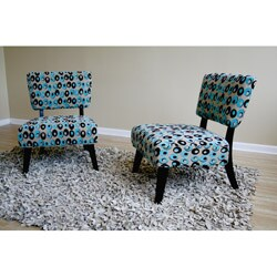 Chloe Contemporary Pattern Accent Chairs (Set of 2) - Thumbnail 1