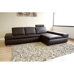 Fordon 2-piece Brown Leather Sofa Sectional - Thumbnail 1