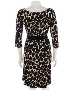 Traces by Tracy Evans Belted Giraffe Print Dress