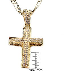 Simon Frank 14k Gold Overlay Luxury Cross w/CZ HipHop Necklace