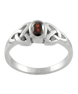 Sterling Silver Filigree Red Cubic Zirconia Ring - Thumbnail 1