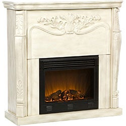 Vienna Antique White Electric Fireplace with Remote - Thumbnail 1