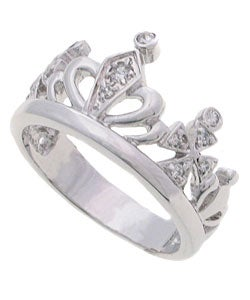 Journee Collection Sterling Silver Polished Crown Jewel CZ Ring