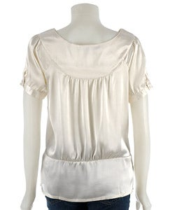 Thumbnail 2, Coupe Short-sleeve Satin Blouse with Boat Neck. Changes active main hero.