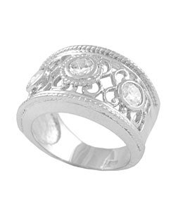 Journee Sterling Silver Filigree Cut with Bezel CZ Ring - Thumbnail 1